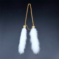 Wholesale Mink Car - Mink Hair Car Rear View Mirror Luxurious Pendant Ornament with Crystals Crown Exquisite Cute Gift for Female
