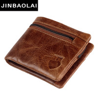 Wholesale Mens Genuine Leather Hand Bag - Genuine Cow Leather Mens Wallets JINBAOLAI Brand Zipper Design Bifold Short Men Purse Male with Card Holder Hand Spinner Bags