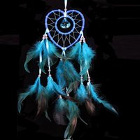 Wholesale Hanging Wall Carving - Indiana Style Heart Dreamcatcher With Beads Feather Car Wall Hanging Decoration Accessories Deam Catcher Gift Pink White Blue Purple