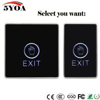Wholesale Exit Push Button Switch - Door Exit Button Touch Release Push Switch Infrared Contactless Bule Backlight for access control systemc Electronic Door Lock