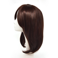 Wholesale black wig white bangs for sale - Group buy Natural Wave Long Brown Wigs With Bangs For White And Black Women Inch Synthetic Hair