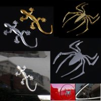 Wholesale Spider Decal Motorcycle - Decal Sticker 3D Spider Car Truck Motor Metal Car-covers Automobile Decals Car-styling Chrome Gold Decorative Motorcycle Sticker