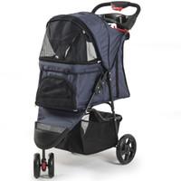 Wholesale dogs cloths - Pet Stroller Dog 3 Wheels Stroller Travel Folding Easy Walk Carrier