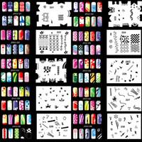 Wholesale Fashion Design Stencils - design templates OPHIR 200 Designs Airbrush Nail Art Stencil 20 Template Sheets Kit Air Brush Paint Fashion Nail Stickers Nails Tools_JFH11