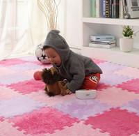köpük mat çocuk toptan satış-Uzun Kürk Saç Bulmaca Köpük Kat Mat, Ped Bebek Emekleme Kesme Alan Halı, Halı Oynamak için 30 * 30 cm Çocuk, Çocuk Oturma Odası, Yatak Odası