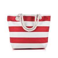 Compra Borse Da Mare-Bianco Nero Bianco Stripes Borsa da spiaggia Tipo di luce Canvas Zipper Donna Borsa Ladies Sea Travel Bag Casual Totes Borse a Tracolla Tote QQ2146