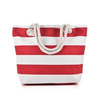 Wholesale Red Sea Lighting - Red Black White Stripes Beach Bag Light type Canvas Zipper Woman Handbag Ladies Sea Travel Bag Casual Totes Shoulder Bags Tote QQ2146