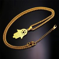 Wholesale Star David Silver Charms - New Hand of Miriam Jewelry Star of David Israel Pendant Gift Trendy Stainless Steel Amulet Charm Hamsa Hand Necklaces P934