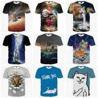 Wholesale Cat Modelling Shirt - Hight Quality T shirt 3D Men Women Fashion Novetly Cats Te2017 Summer Short Sleeves Both Sides 3D Print Different models Man TOP TEES O neck