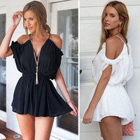 Wholesale Women Lace Romper - 2017 New Summer Sexy Strap V-neck Cold Shoulder Jumpsuit Romper Women Backless Tie Back Playsuits Lace Up Beach Overalls