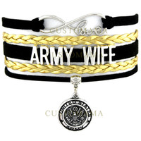 Wholesale custom snakes - Wholesale- (10 PCS Lot) Infinity Love United States Army Wife Charm Wrap Bracelet Black Gold Suede Leather Custom any Themes Dropshipping