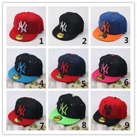 Wholesale Ny Children - Hot Sell 9 Colors NY Baseball Cap Kids Snapback High Quality NY Letter Embroidery Children Cotton Baseball Cap Boys Girls Fashion Hats Q0665