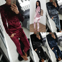 Two Piece Pants blue crush clothing - 2017 New Fashion Spring Fall Women Clothing Set Hot Sale Fashion Winter Girls Crushed Lounge Suit Shiny Velvet Casual Suit Ladies Tops Pants