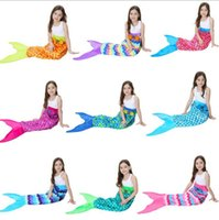 Wholesale Polar Fleece Sleeping Bag - Kids Mermaid Tail Blankets 56*135cm Soft Warm Polar Fleece Sleeping Bags Girls Tail Throw Blanket 10 Colors LJJO3320