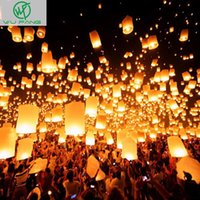 Wholesale Candles For Birthday Chinese - Wholesale- 10pcs White Paper Chinese Lanterns Fire Sky Flying Paper Candle Wish Lamp for Birthday Wish Party Wedding Decoration