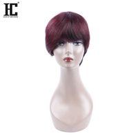 Wholesale 99j Wigs - HC Hair Bob 1B 99J Burgundy Ombre Human Hair Wig Short Bob Wine Red Wig Straight 10 inch Human Bob Hair For Women
