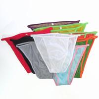bikini iç çamaşırı pamuk toptan satış-Erkek Dize Bikini Ince Yumuşak Pamuk G342C Renkler Seksi Iç Çamaşırı Külot Ön Kılıfı Ince Pamuklu Jarse Pamuk Yumuşak Konfor