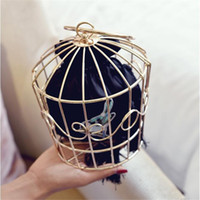 Vente en gros- NOUVEAU Design Women's Birdcage Evening Bag Embrayage Metal Frame Broderie Bucket Bird Cage Mini Bag Purse femme Glands en or Sac à main