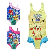 Wholesale Swimsuits For Baby Cartoons - HOT Girls Swimwear 3 Styles Baby Girls Kids Cartoon One-Pieces Swimwear Swimsuit For 3-10T With High Quality Free Shipping