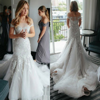 Wholesale Delicate Mermaid - Delicate Tiered Layered Mermaid Wedding Dresses High Quality 2017 Sexy Sheer Backless Appliqued Long Train Bridal Gowns Off the Shoulders
