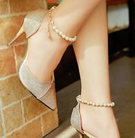 talons hauts en perles d'argent achat en gros de-Printemps et en été de nouvelles sandales à talons hauts femmes perlées pointues chaussures pour femmes en argent avec une seule chaussures chaussures sauvages coréens