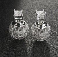 Wholesale Hollow Carved Earring - 2017 new European 925 silver needle hollow carved small ball stud earrings female crystal from Swarovski simple temperament wild anti-allerg