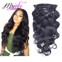 28 человеческих волос с увеличенной головкой оптовых-Перуанский объемная волна 100 г девственные человеческие волосы клип в расширении полная голова естественный цвет 7 шт. / лот 12-28 дюймов от Ms Joli