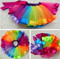 Wholesale Girls Rainbow Yarn Dress - Wholesale rainbow skirt yarn tutu skirt, children's dance dress, girls half-length children's skirt, performance pompon skirt