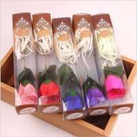 Wholesale Decorative Bamboo - New valentine gifts Artificial Rose Silk Flower Heads Single Soap Rose With Glitter Powder Decoration for Wedding Party Banquet Decorative