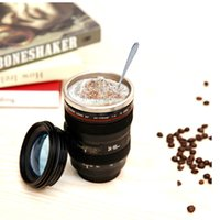 Wholesale Wholesale Photography Lenses - Creative Camera Lens Coffee Mug Canons Cup 2Generation Mugs For Canon stainless steel liner Fans Photography Novelty Gifts