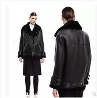 Wholesale Women Real Fur Vintage Coats - 2016 Women Real Rabbit Fur Faux Leather Short Suede Shearling Coats Zipper Clothing Vintage Motorcycle Jacket