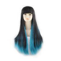 Wholesale anime long wigs for sale - 70cm Long Straight Black Green Colors Anime Cosplay Wig High Quality Womens Party Kanekalon Fibre Synthetic Hair Wigs Perruque