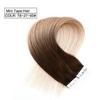 Wholesale Striaght Brazilian Hair - Neitsi New Arrival 20'' 40Pcs lot 2g pc 80g Mini Tape in Human Hair Extensions Striaght Indian Remy Skin Weft Extensions Ombre Deep Dyed Hai