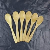 Wholesale Small Bamboo Spoons - Wholesale- High quality 10PCS kitchen accessories natural wood spoon bamboo Porridge honey colher Cutlery teaspoon small wooden spoon