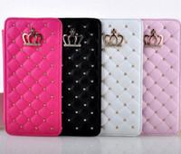 couronne de portefeuille en cuir achat en gros de-De luxe Rivet Glitter Strass Diamant Couronne Case Flip En Cuir Portefeuille Cas Couverture Téléphone Sac Pour iPhone 6 6S 7 Plus