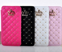 Wholesale crown phone covers for sale – best Luxury Rivet Glitter Rhinestone Diamond Crown Case Flip Leather Wallet Cases Cover Phone Bag For iPhone S Plus