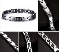 Wholesale Tungsten Carbide Energy Bracelet - Couples Magnetic Bracelet Tungsten Carbide Hematite Healthy Power Energy Magnetic Link Bangle Bracelet Valentine's Gift B864S