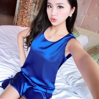Wholesale Womens Silk Sleeveless Pajamas Shorts suit Summer Nightgowns Comfy Pajamas Pretty Nighties Artificial Silk Sleepwear Sets WD058