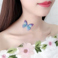 Colorful 3D Simulation Butterfly Tattoo Chokers Stealth Fishing Line Neck Necklace Mulheres Novo Designer Crystal Sexy Beach Wedding Jewely A019