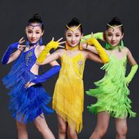 Wholesale Adult Skate Dress - Kids Adult Green Yellow Latin Dancing dress costumes Outfits Kids Sequined Tassels Latin Skating Dancing Salsa dancewear