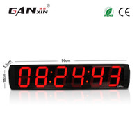 temporizadores de pared digitales grandes al por mayor-[GANXIN] Venta caliente 6 pulgadas 6 dígitos Reloj interior Pantalla LED grande Digital Office Clock Pro Garage Edition Temporizador de pared