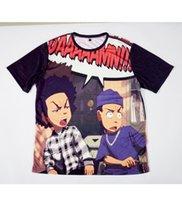 impressão de camisa de sublimação venda por atacado-Real EUA Tamanho personalizado feito Craig _ Smokey x Boondocks Huey _ Riley 3D Sublimação impressão T-Shirt Plus tamanho