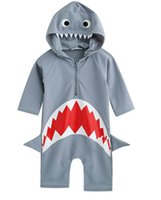 Wholesale Swimwear For Baby Boy - Baby Girls boys Shark Hooded Swimwear Infants Swim jumpsuit Beach clothes Hot spring swimsuit for 3-7T