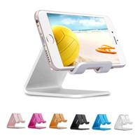 zte x toptan satış-Evrensel Alüminyum Metal Cep Telefonu Tablet Tutucu Danışma Standı iPhone XR için XS MAX X 8 7 Artı Samsung S9 S8 artı ZTE LG Huawei RetailBOX