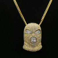 Men's HipHop CSGO Necklace 18K Alloy Gold Silver Plated Mask Head Charm Pendant De qualidade superior 27.5inches Long Chain Punk Style Pendant N