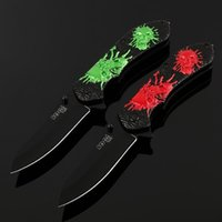 Wholesale Skull Cameos - New SOG Cameo Hunting Folding Knife 5Cr13 Steel Skull Relief Handle Survival Tactical Knife For Outdoor Hiking