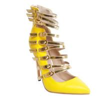 top amarelo da noite venda por atacado-Kolnoo Womens Moda Handmade Hi-top Correias Pointy Salto Alto Partido Noite Sandálias Sapatos de Verão Amarelo XD18301