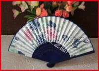 Wholesale Hand Fan Supplies - Ladies hand fans single side folding fans frame hollow out bamboo and dyed into deep blue color Chinese fans