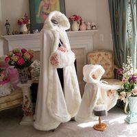 Wholesale hooded fur cape shawl - Plus size Winter 2017 Bridal Shawls Jackets Cape Faux Fur Christmas Cloaks Hooded Perfect Wedding Wraps Abaya Wedding Dresses