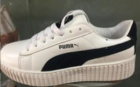 Wholesale Patent Creeper - 2017 Cheap Discount Buty Fenty Rihanna Creeper Fashion Men Women Black White Wrinkled Patent Leather Velvet Casual Shoes Trainers Size 36-44